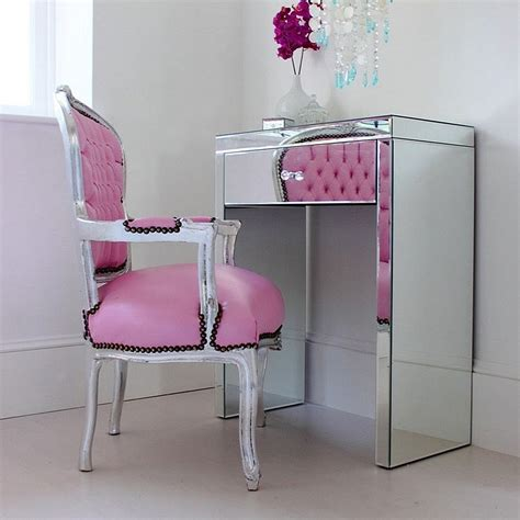 Small Mirrored Desk Mini Clear Mirrored Glass Dressing Table For Small Spaces Minimalist Desk Design Ideas