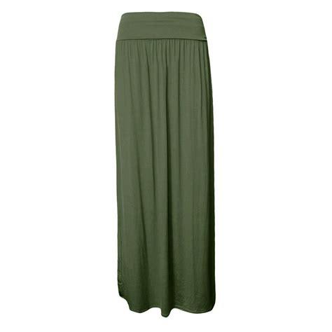 new womens plain pleated fold waist jersey