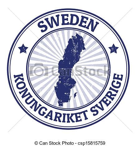 clipart vector of sweden stamp grunge rubber stamp with