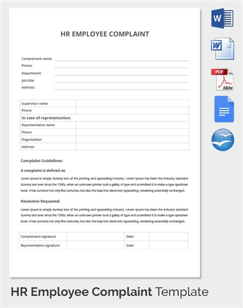 employee complaint template sle hr complaint forms 9 free documents in
