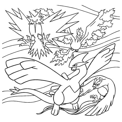 pokemon coloring pages moltres pokemon paradijs kleurplaat zapdos moltres lugia en