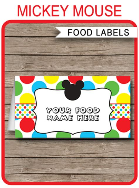 mickey mouse party food labels place cards mickey