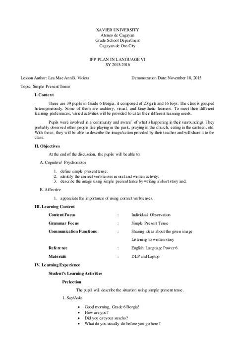 lesson plan 10 octavo past simple tense simple present tense ipp lesson plan