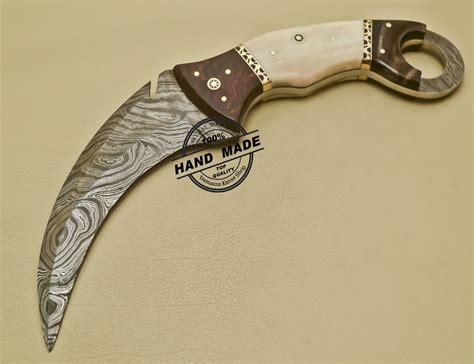 Handmade Karambit - damascus karambit knife edge custom handmade damascus