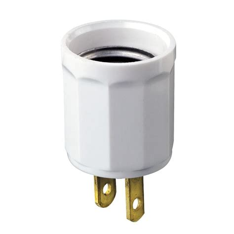 leviton outlet to socket light plug white r52 00061 00w