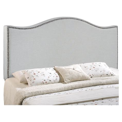 grey button headboard curl button tufted headboard sky gray dcg stores