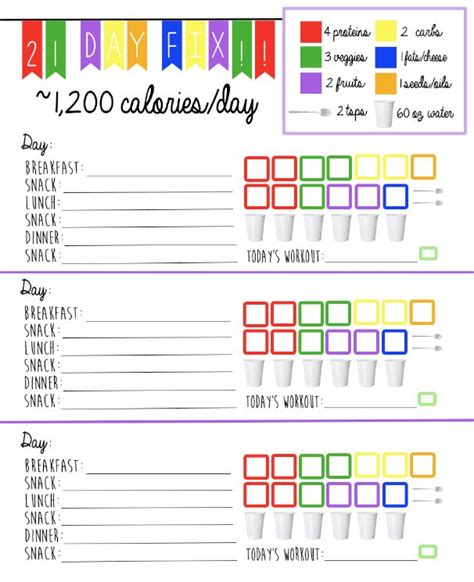printable meal plan for 21 day fix 8 best images of 21 day fix meal plan printable 21 day