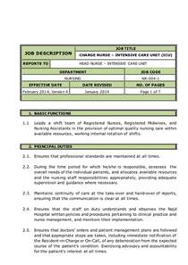 Icu Resume Description Charge Intensive Care Unit Icu Description
