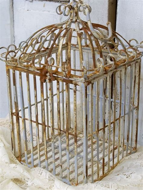 heavy wrought bird cage french provincial chic rusty