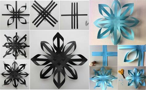 Impressionnant Flocon De Neige Decoration #1: origami-Noel-flocon-neige-bleu-noir-techniques-différentes.jpg