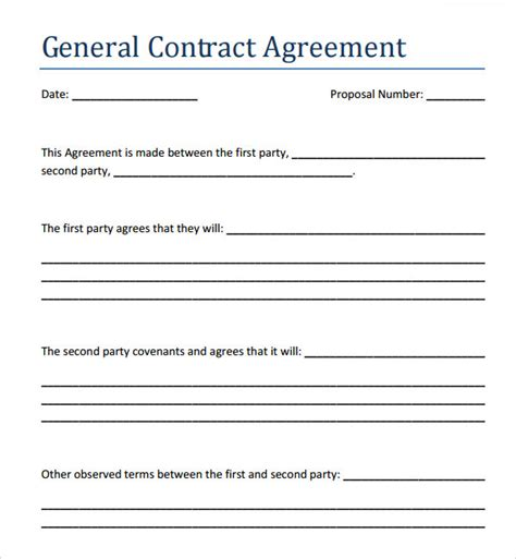 template contractor agreement contract agreement 7 free pdf doc