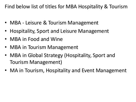 Mba In Tourism And Hospitality Management Scope by Project Report Titles For Mba In Hospitality And Tourism