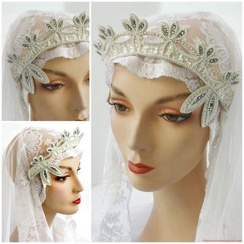 Rhinestone Headpiece vintage wedding beaded and rhinestone tiara headpiece