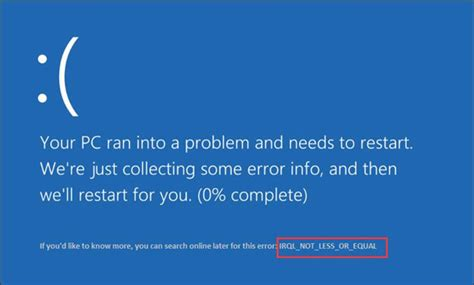 Install Windows 10 Your Pc Ran Into A Problem   fix irql not less or equal bsod on windows 10 windows 10