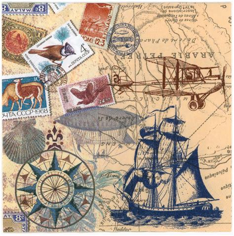 Map Decoupage Paper - decoupage paper napkins of vintage travel world map