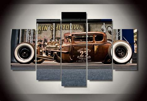 vintage car bedroom decor framed printed antique classic car group painting room decor print poster picture
