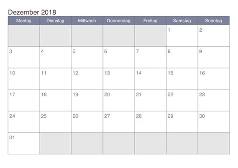Kalender Dezember 2018 Kalender Dezember 2018 Zum Ausdrucken Pdf Excel Word