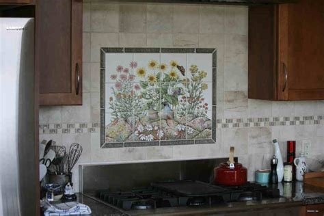 hand painted tile backsplash themes cabinet hardware