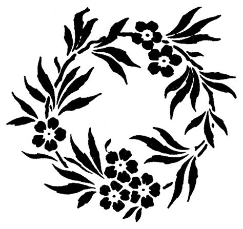 Stock Images Pretty Floral Wreaths Frames The Graphics Fairy Stencil Template