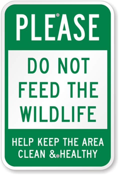 keep the area clean sign do not feed wildlife sign, sku