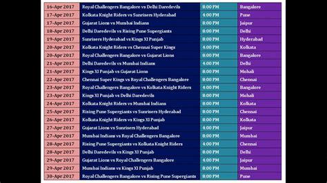 full hd video time table vivo ipl 2017 schedule time table season 10 youtube
