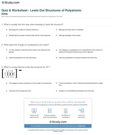 Polyatomic Ions Worksheet by Quiz Worksheet Lewis Dot Structures Of Polyatomic Ions