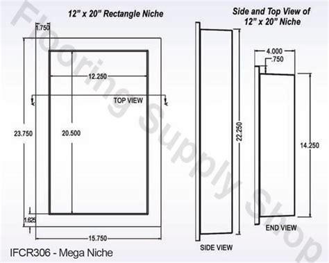 Bathroom Niche Dimensions Preformed Ready To Tile Single Recessed Shower Niche 14 X