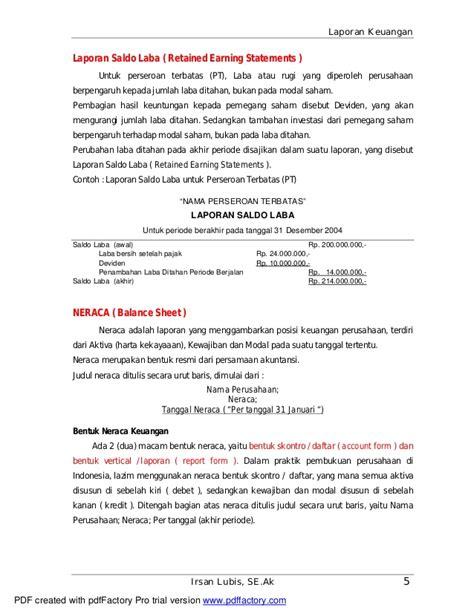 format laporan laba ditahan laporan keuangan