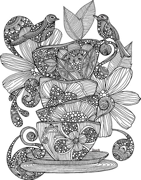 valentina designs coloring pages teacups birds and flowers drawing by valentina harper