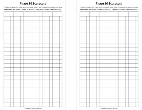 download phase 10 score sheet for free formtemplate