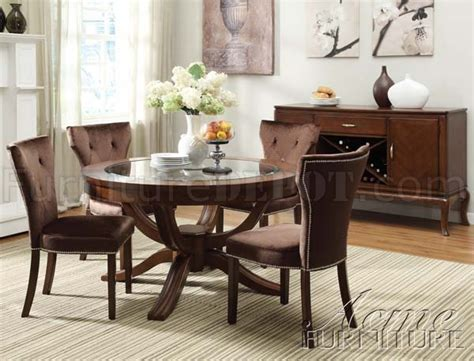 round glass top dining room table round glass top transitional kingston dining table by acme
