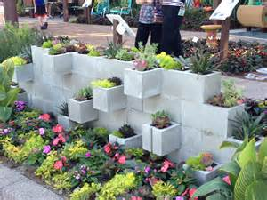concrete block planter wall front yard