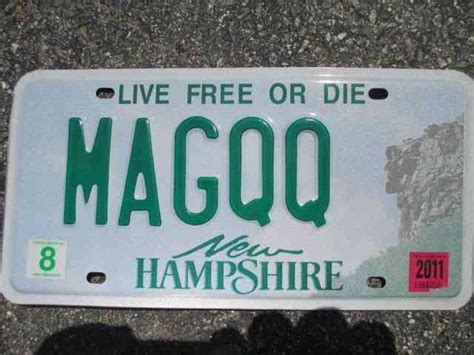 Nh Vanity Plate by 2011 New Hshire Vanity License Plate Magqq