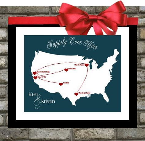 personalized wedding gift customized long distance love our love story personalized wedding gift custom map