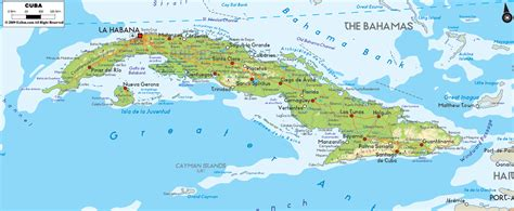 physical map of cuba physical map of cuba ezilon maps