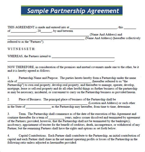 Agreement Letter Format For Business business partnership agreement 9 documents in pdf word