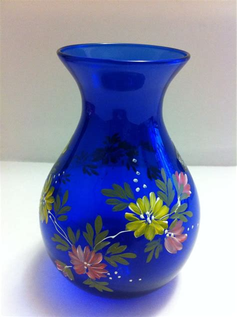 Collectible Glass Vases by Vintage Collectible Cobalt Blue Glass Vase Painted