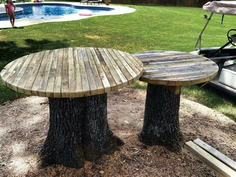 tables made from tree stumps diy outdoor table ideas for garden improvement
