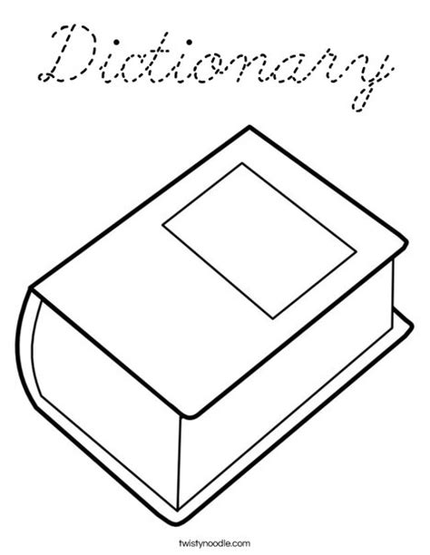 coloring book dictionary dictionary coloring page cursive twisty noodle