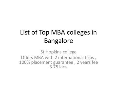 How To Apply For Mba In Bangalore by Top Mba Colleges In Bangalore