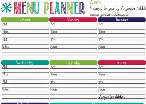 free printable meal planner with grocery list 8 best images of cute printable meal plan free meal plan