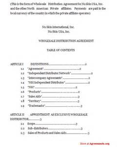 Wholesale Agreement Template Wholesale Distribution Agreement Sample Wholesale