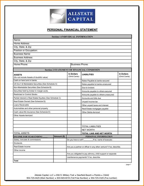 statement template personal financial statement sle format formatessay