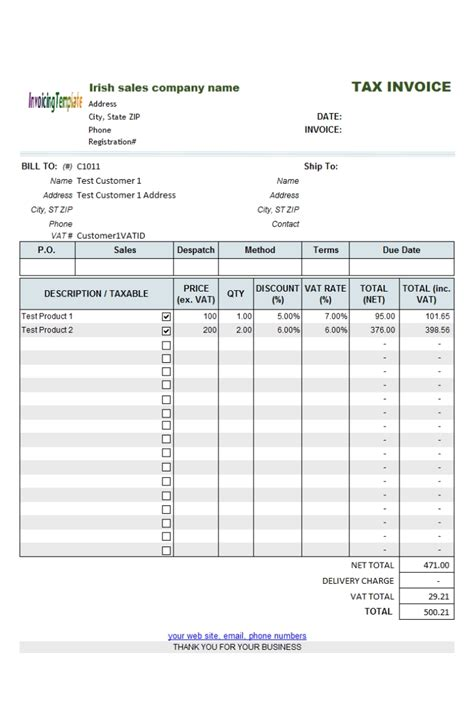 template of vat invoice non vat invoice template invoice template ideas