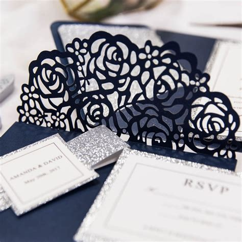 Unique Pocket Wedding Invitations by Navy Blue Laser Cut Pocket Wedding
