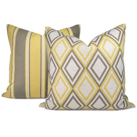 grey yellow pillows geometric pillow cover 18x18 pillow cover gray and