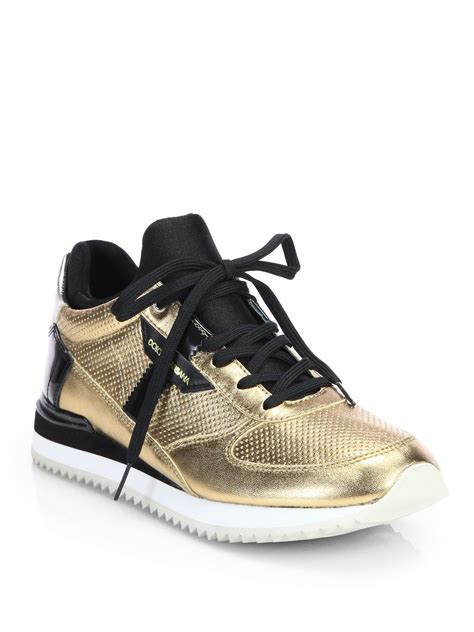 dolce and gabbana shoes lyst dolce gabbana metallic patent leather lace up