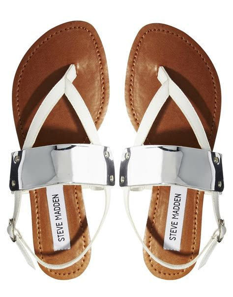lyst steve madden cuff toe post white flat sandals in white