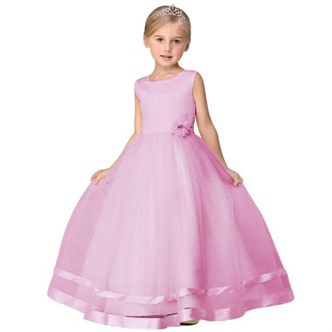 Dress Kid Pink new arrival baby wedding dress children birthday gowns fashion pink
