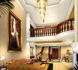 Villa Stairs Design Brick Wall Bending Stairs In Villa Living Room 3d House Free 3d House Pictures And Wallpaper